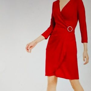 INC Dress Real Red Surplice Bling 3/4 Sleeve NWT S